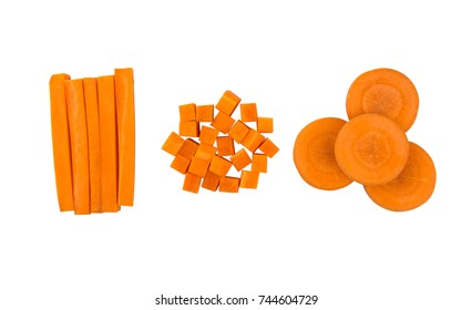 Carrot slices isolated on white background,Carrot slice,carrot sticks,carrot cubes