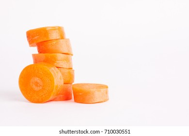 carrot slices on a white background