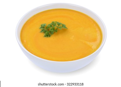 Carrot soup meal with carrots in bowl isolated on a white background
