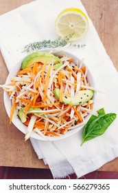 Carrot, turnip, apple and avocado salad