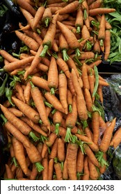 Carrot vegetable background, close-up. Raw carrot in market, top view. Agriculture concept. Healthy food