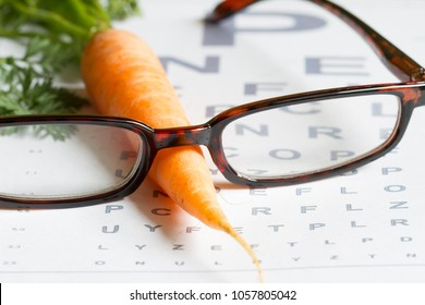 Carrot vitamin A and eye test chart healt medical  concept