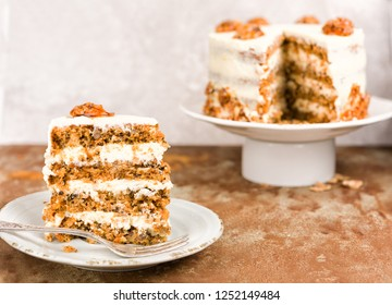 Carrot and walnut cake with cream cheese frosting.