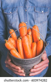 carrots bucket in hands - vegetarian and vegan people - vintage style filter