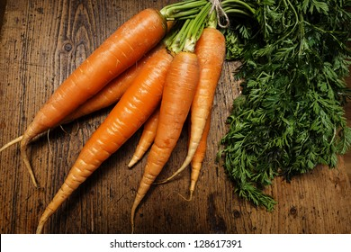 carrots on an old wooden table