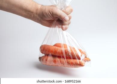 Carrots in plastic bag ,