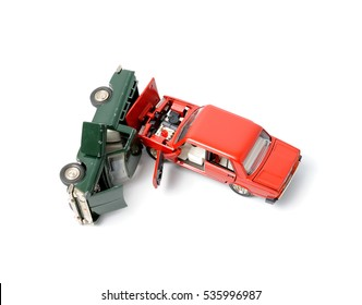 Cars in accident on a white background.