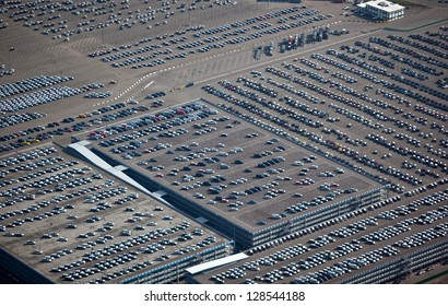 Cars arriving in harbor terminal