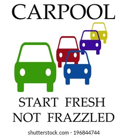 cars assorted on white background carpool poster illustration