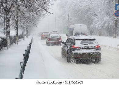 cars in Blizzard conditions