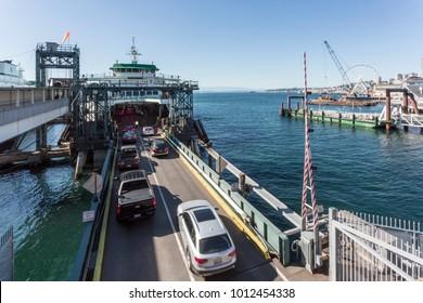 Cars boarding Ferry to Bainbridge Island in Colman Dock Downtown, Seattle, Washington, USA, North America 21 September 2017