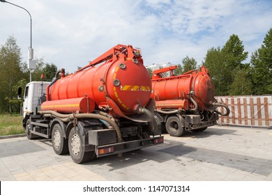 Cars for cleaning the sewer system of the city. Special equipment, utility service.
