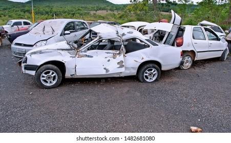 Cars crashed in the Goiania-Brasilia Highway - Goiania.Goias State. Brazil. November. 2010