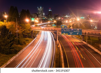 Cars create light trails in a long exposure over I-5 in Portland
