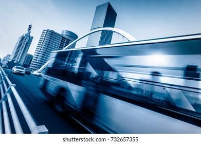cars driving on bridge,tianjin,china.