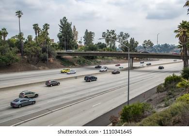 Cars driving on Interstate 210 Freeway in Pasadena, California.