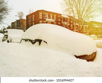 Cars entirely covered by snow. Winter evening in Montreal, Canada.