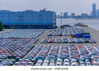 Cars Export Terminal at Daikoku wharf,Yokohama,Japan at May 28,2017