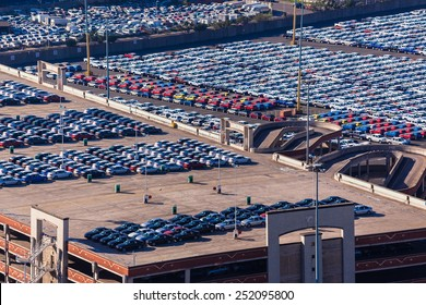 Cars Export Terminal Durban harbor port cars vehicles  terminal for export import landscape from birds-eye air position.