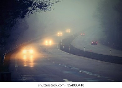 Cars in the fog