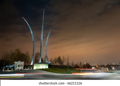Cars in front of the Air Force Memorial