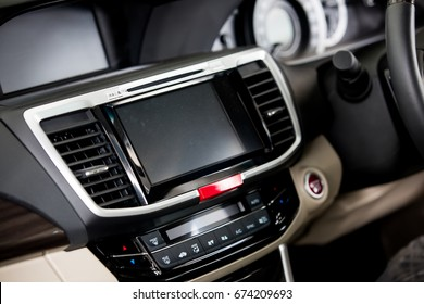 car's front console interior with display