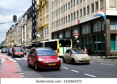 Cars in main street of  Luxembourg city on Jun. 22, 2018.
