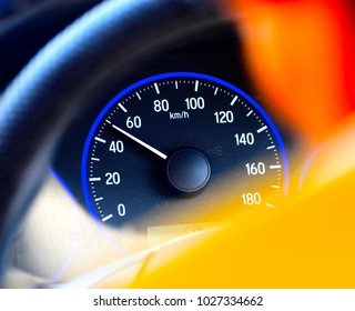 A cars milage meter isolated object