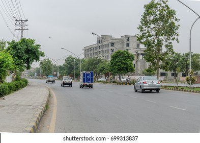 Cars moving in a busy road in Hayatabad, Peshawar, Pakistan on 24th July 2017