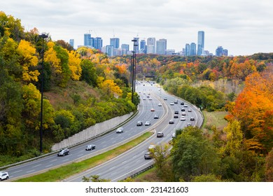 Cars on the Don Valley Highway during the fall