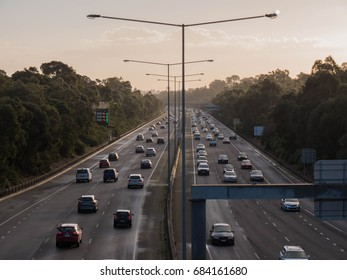 cars on freeway looking down