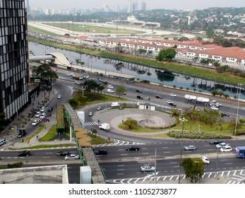 Cars on the Marginal Pinheiros and side streets, the Pinheiros River and Jockey Club de Sao Paulo - Hippodrome Garden City, Sao Paulo 2018