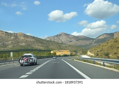 Cars on Mediterranean Autovia (Spanish for Highway) A7  between Maigmo and Castalla in the province of Alicante, the costa blanca region of Spain