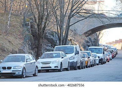 Cars on a parking in Stockholm, Sweden