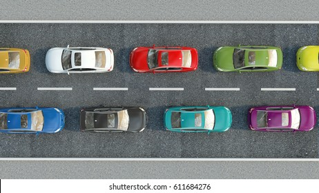 cars on the road. 3d illustration