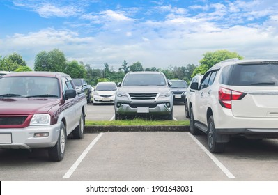 Cars parked in asphalt parking lot. Trees, white cloud blue sky background, empty space for car parking. Outdoor parking lot in a park