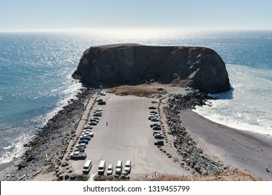 Cars parked at Goat Rock Beach