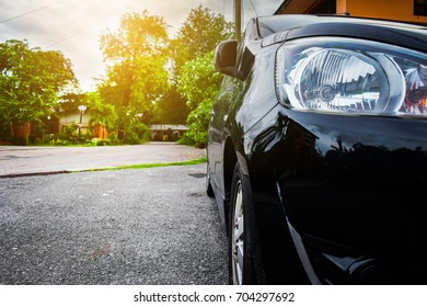 Cars parked on the street at evening.Car on street,Car on road,Car park on road