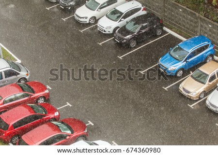 Cars Parked Parking Lots Near Highrise Stock Photo Edit Now