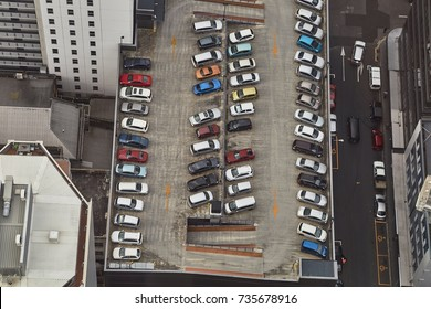 Cars in a parking lot from above