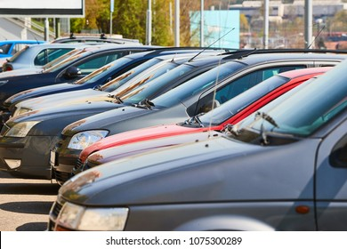 Cars parking in a city
