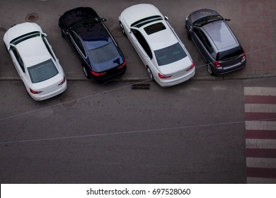 Cars in the parking lot. view from above. Parked cars. parking