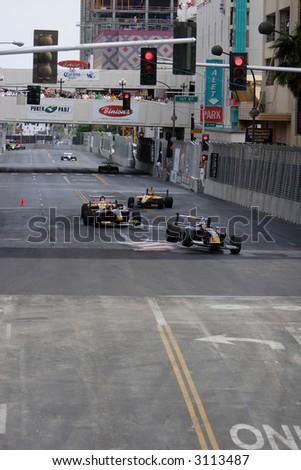 Cars Racing Through Chicane Inaugural Las Stock Photo Edit Now