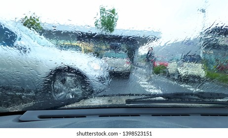cars in the rain and cold