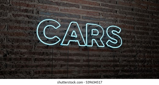CARS -Realistic Neon Sign on Brick Wall background - 3D rendered royalty free stock image. Can be used for online banner ads and direct mailers.