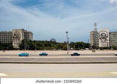 Cars and Revolution Square, La Habana Cuba - Shutterstock ID 1153692265