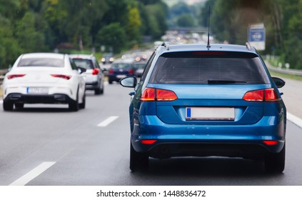 Cars in row on highway in traffic jam