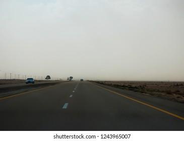Cars run on the Benghazi-Tripoli highway. The Arab Spring in Libya begins. April 7, 2011, Benghazi, Libya.