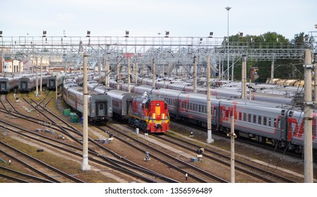 The cars of the Russian passenger train. Russian railway. travel around St. Petersburg Russia August 7, 2018