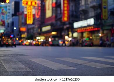 Cars and shops on Yaowarat road. chinatown , BANGKOK, THAILAND